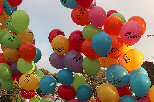 Welcome refugees balloons at a refugee vigil at Broadmeadows. Image by Takver on flickr.