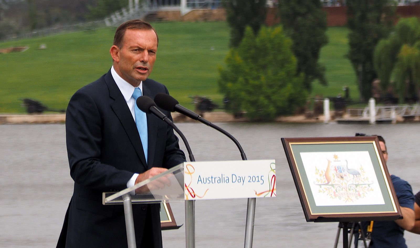 Tony Abbott speaking at the 2015 National Flag Raising and Citizenship Ceremony. Photo by Nick D: http://commons.wikimedia.org/wiki/User:Nick-D