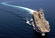 080530-N-2179W-263 SOUTH CHINA SEA (May 30, 2008) The Tarawa-class amphibious assault ship USS Peleliu (LHA 5) steams through the South China Sea. Peleliu is the flaghsip of the Peleliu Expeditionary Strike Group and is on a scheduled deployment. U.S. Navy photo by Mass Communication Specialist 2nd Class Scott Webb (Released)