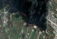 Imagery from 15 February 2012 shows a large plume of smoke and the oil pipeline on fire due to an explosion on the outskirts of the Baba Amr neighborhood in Homs. This pipeline carries oil to a refinery on the western edge of the Syrian city of Homs. Image courtesy UNITAR-UNOSAT and copyright DigitalGlobe, Inc.