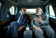 """Sept. 30, 2014 """"I asked the President if I could ride in his vehicle as he traveled to the Martin Luther King, Jr. Memorial with Prime Minister Narendra Modi of India.""""  (Official White House Photo by Pete Souza)  This official White House photograph is being made available only for publication by news organizations and/or for personal use printing by the subject(s) of the photograph. The photograph may not be manipulated in any way and may not be used in commercial or political materials, advertisements, emails, products, promotions that in any way suggests approval or endorsement of the President, the First Family, or the White House."""