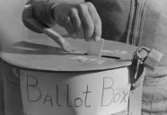 Locked ballot box used in Carson, North Dakota on October 30, 1940. Photo courtesy National Archives and Records Administration.
