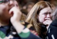Staff and supporters listen as Democratic presidential candidate Hillary Clinton speaks at the New Yorker Hotel in New York, Wednesday, Nov. 9, 2016, where she conceded her defeat to Republican Donald Trump after the hard-fought presidential election. (AP Photo/Andrew Harnik)