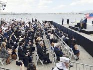 Japanese Prime Minister Shinzo Abe(on the platform,2nd from R) gives a speech at the Pearl Harbor , Hawaii on Dec.27, 2016. U.S. President Barack Obama(rear) accompanies Abe. When the former Imperial Japanese Navy attacked on Pearl Harbor on Dec.7, 1941, the Arizona was bombed with the loss of 1,102 of 1,177 officers and crewmen.( The Yomiuri Shimbun via AP Images )