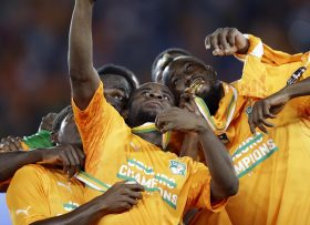 Ivory Coast's players take a selfie as they celebrate after winning their African Cup of Nations final soccer match against Ghana in Bata, Equatorial Guinea, Sunday, Feb. 8, 2015. (AP Photo/Themba Hadebe)