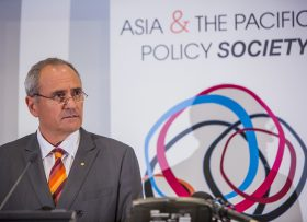 Ken Henry delivering the keynote address at ANU Public Policy Week 2014.  PHOTO: Policyforum.net
