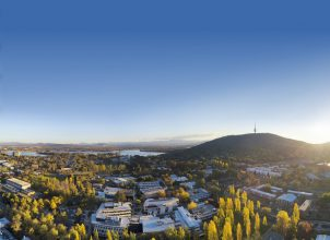 Aerial view of ANU campus and Black Mountain